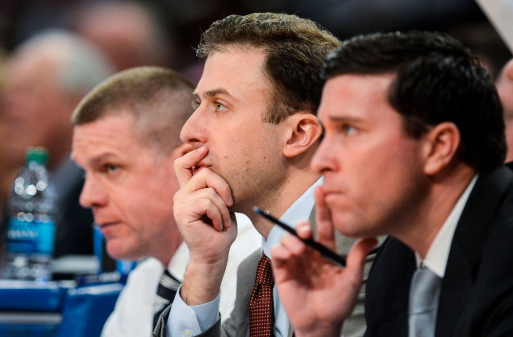 Minnesota men's basketball head coach Richard Pitino watches his team play Thursday, April 3, 2014, at the National Invitation Tournament finals at Madison Square Garden in New York, N.Y.