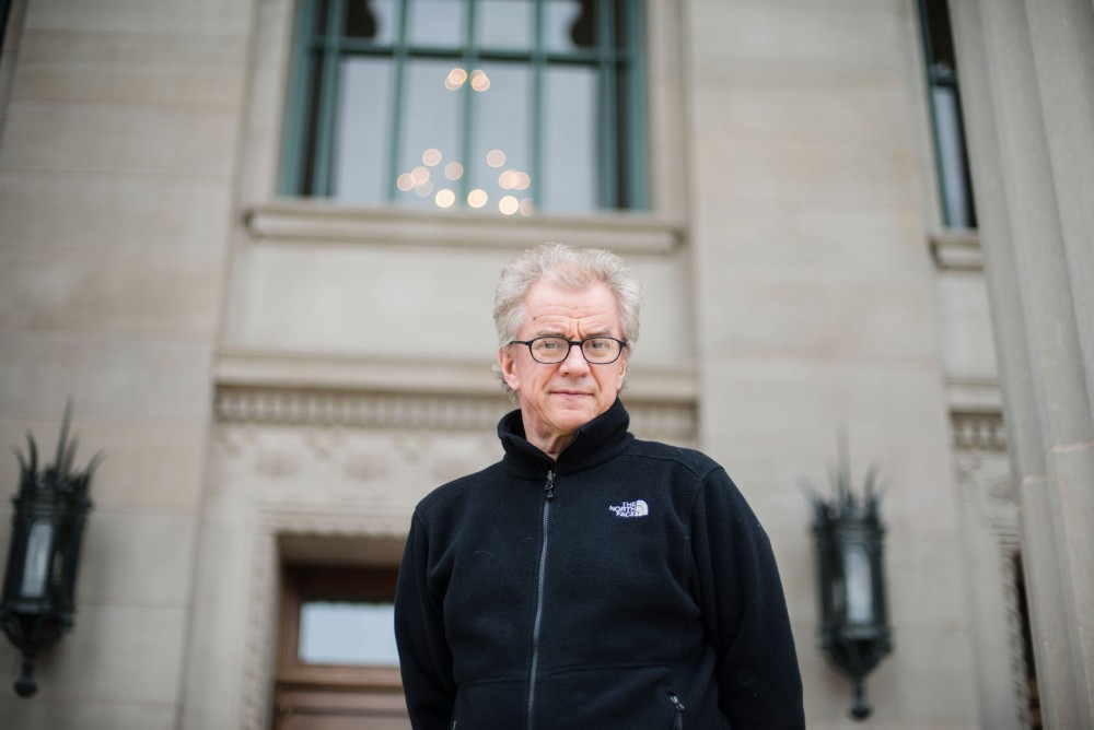 Osmo Vanska, director of the Minnesota Orchestra, poses for a portrait outside of Northrop Hall on Thursday. May 1 marked the first day of his two-year contract to return as music director for the Minnesota Orchestra after a 16-month musician lockout.