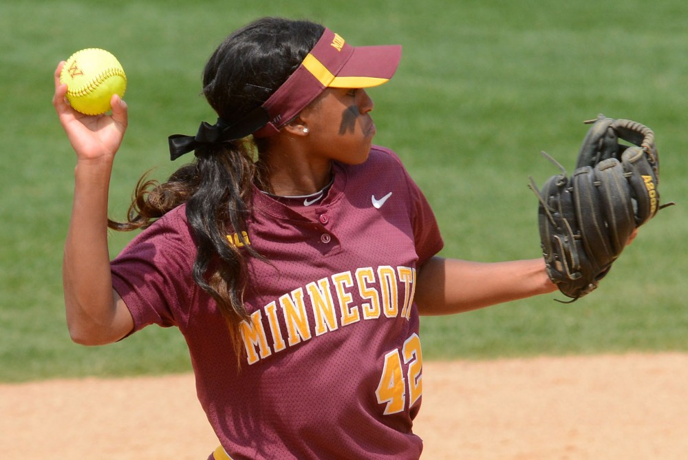 Minnesota infielder Tyler Walker throws to the pitcher during the game against North Dakota State at Jane Sage Cowles Stadium on Saturday. This game, part of the NCAA Regional Tournament, resulted in a 4-1 win by the Gophers.