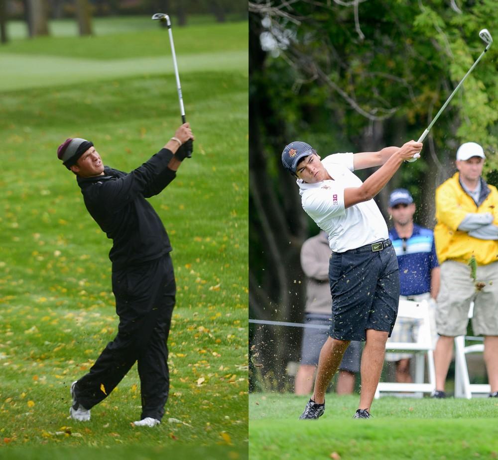 Left; Minnesota's Jon Trasamar plays Sunday, Oct. 6, 2013, at the Edina Country Club. Right; Minnesota's Jose Mendez plays at the season-opening Gopher Invitational at Windsong Farm Golf Club Sept. 8.