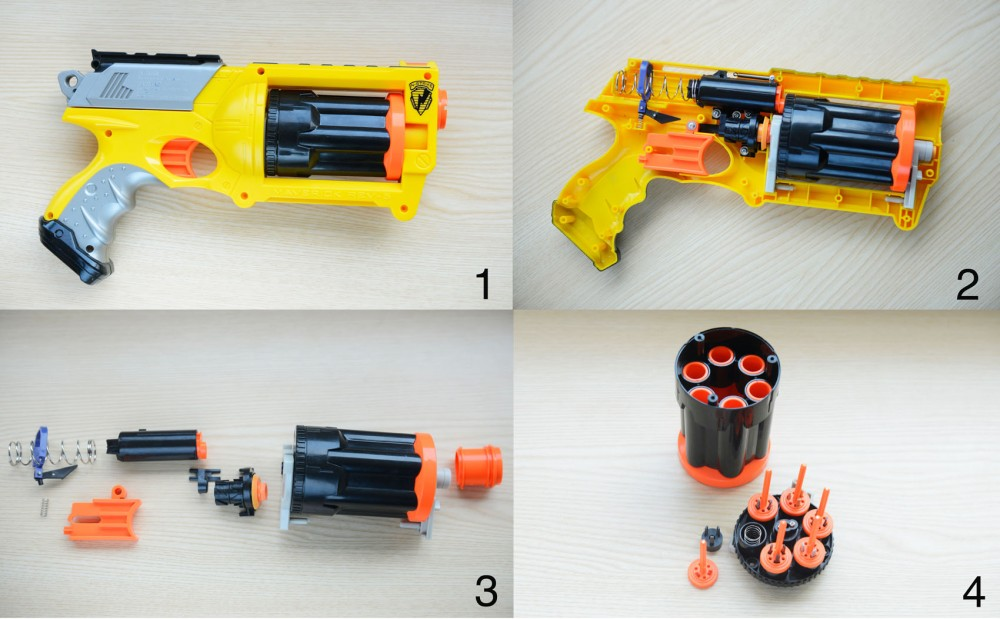 #1. An assembled view of the Nerf Maverick REV-6.