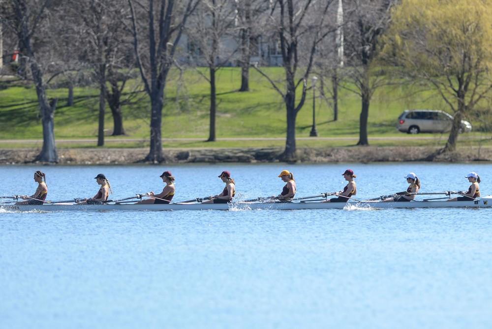 Minnesota's rowing team competes against Wisconsin at Lake Phalen in St. Paul on Sunday morning. Wisconsin won every race of the regatta.