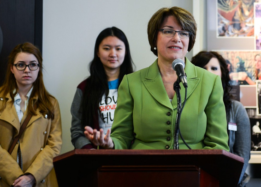 Senator Amy Klobuchar, D-Minn, speaks at a press conference on Friday morning at Coffman Memorial. On Thursday, the Education Department revealed a list of 55 colleges under investigation for their responses to sexual assault allegations. Although the University was not on the list, sexual assault is still a concern on campus.