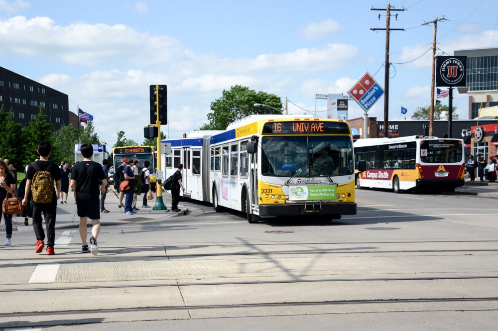 The Metro Transit bus route 16 turns onto Washington Avenue on Monday.  The Metro Green Line's grand opening is June 14 and will affect numerous routes that service campus, including the 3, 16 and 50.