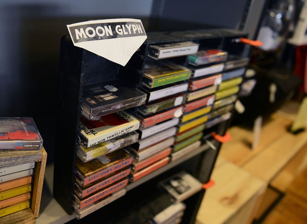 A rack of cassettes, mostly Moon Glyph releases, on display at the Minneapolis Electric Fetus.