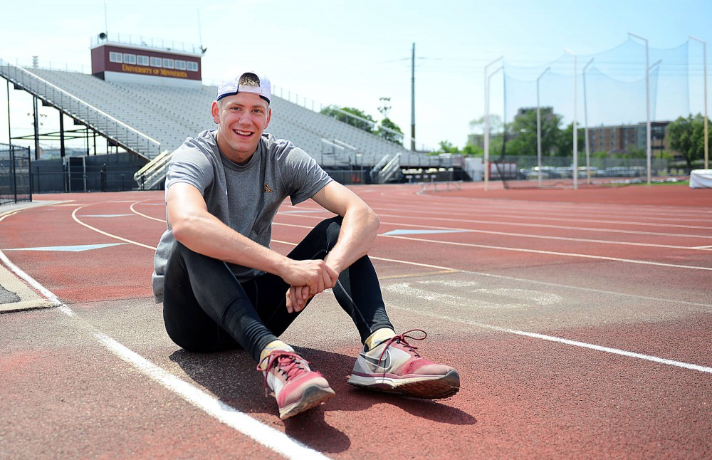 Gophers sophomore Wally Ellenson poses for a portrait on the Bierman Track on June 5.