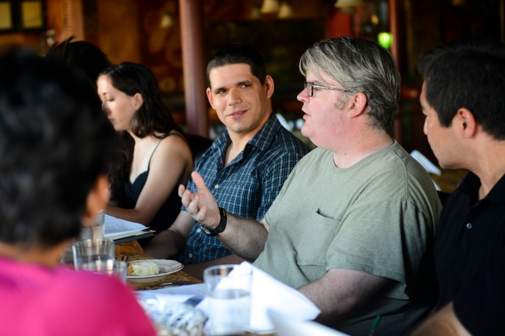 Council of Graduate Students member Scott Petty talks at the COGS meeting at Loring Pasta Bar on Tuesday July 22. Petty is one of four authoring the bill of rights for graduate students.