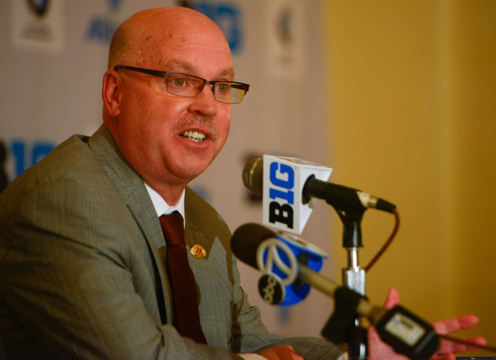 Minnesota head football coach Jerry Kill speaks at Big Ten Media Days in Chicago. After his epilepsy kept him off the sidelines for much of 2013, Kill's health appears to be improved.