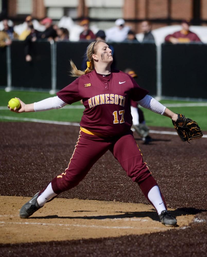 Minnesota pitcher Sara Groenewegen pitches against Illinois on Saturday, March 29, at St. Thomas University.