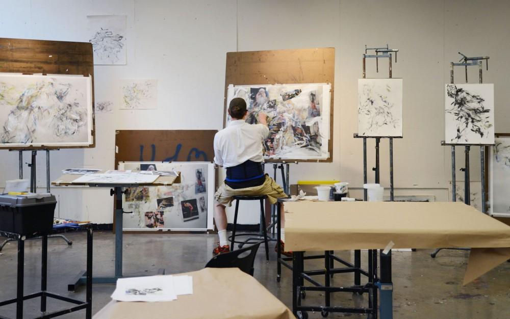 College of Continuing Education student Dave Moore works on an in depending drawing study on Tuesday, June 24th.