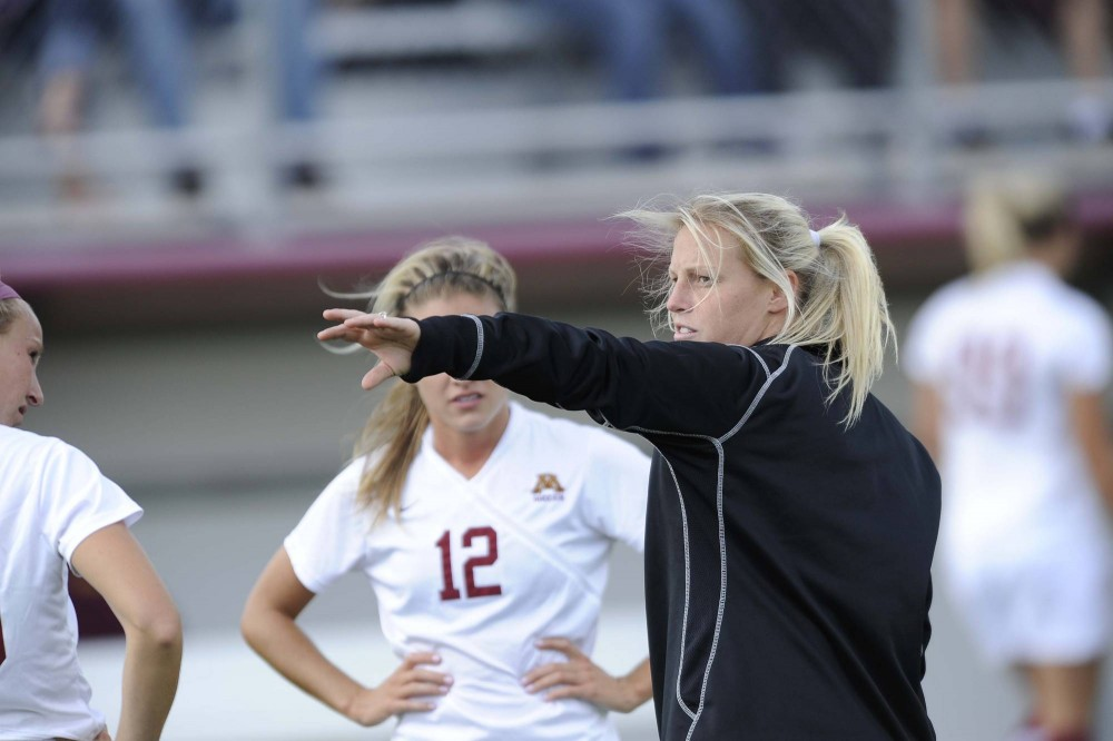 Gophers assistant soccer coach Krystle Seidel directs players at Elizabeth Lyle Robbie Stadium, on Sept. 4, 2011. Seidel was selected to participate in the National Soccer Coaches Association of America's 30 Under 30 program.