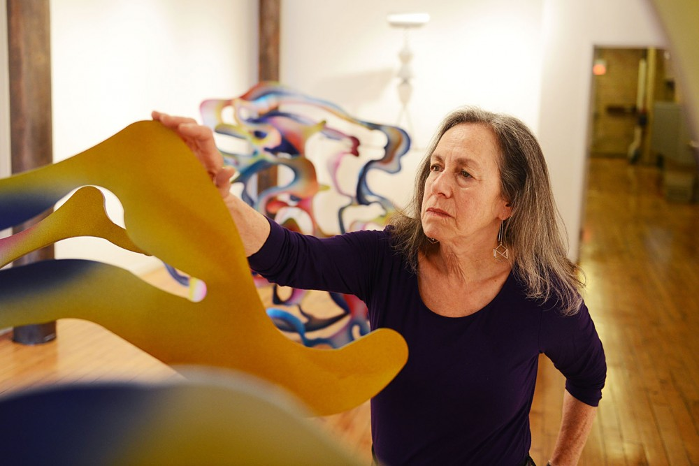 Local artist Perci Chester describes the installation of her latest gallery of sculptures and prints at the Traffic Zone for Visual Art on Monday.