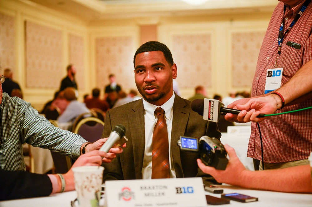 Ohio State quarterback Braxton Miller speaks to reporters at Big Ten Media Days in Chicago on Tuesday, July 29.