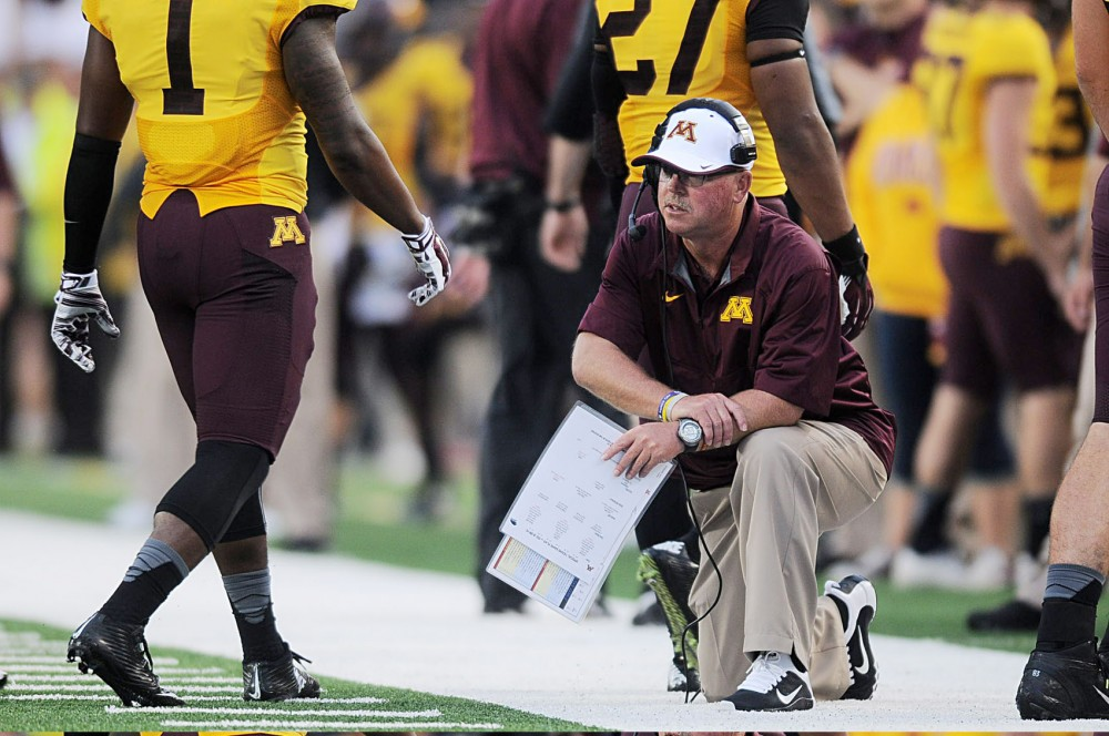Head coach Jerry Kill watches the Gophers in between on Thursday evening against Eastern Illinois at TCF Bank Stadium.