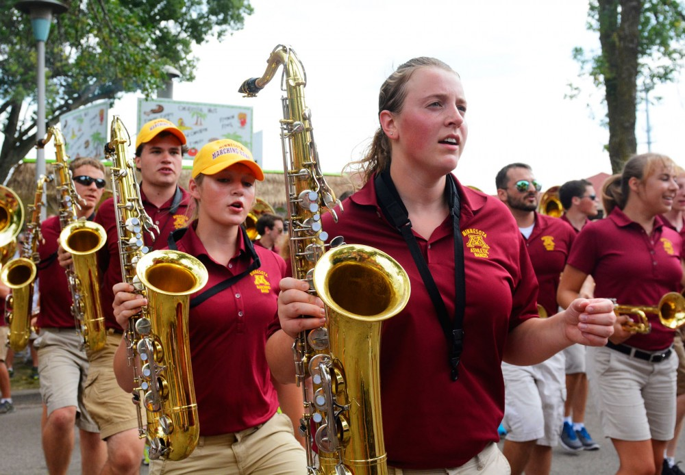 The University marching band performs on Aug. 31, 2014 at the Minnesota State Fair. The band members have been been training at SPAT Camp, where they have been learning music and marching routines.