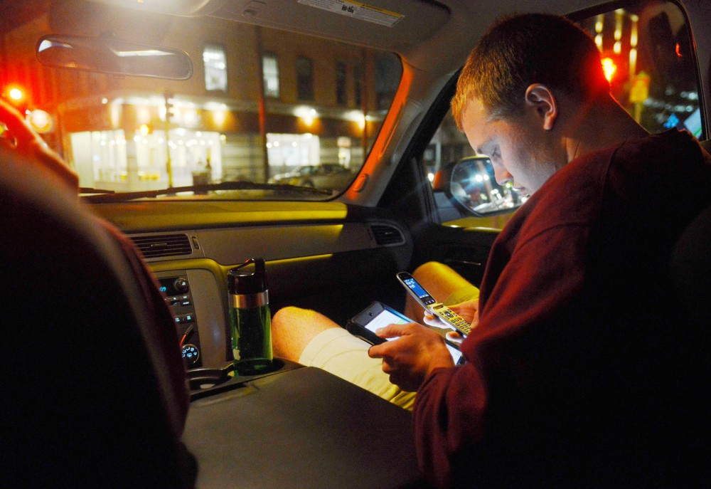 Sophomore Collin Klimisch navigates for the Gopher Chauffeur on Thursday night. Gopher Chauffeur is undergoing design changes to increase its vans' appearance.