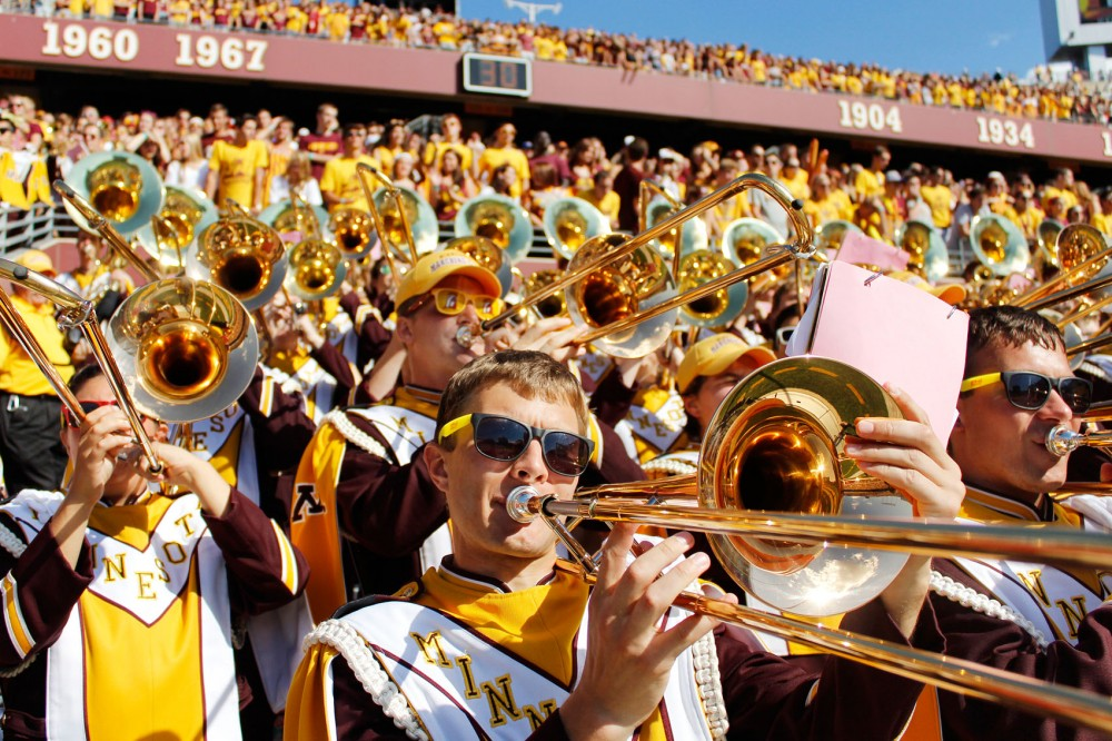 The trombone section of the marching band plays during the Gopher's football game on Saturday at TCF Bank Stadium.