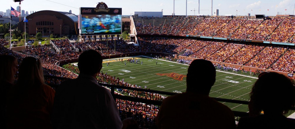 Spectators look on to a populated TCF Bank Stadium at Minnesota's game against Middle Tennessee on Saturday.
