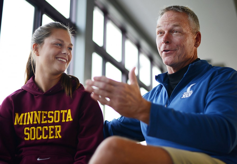 Gophers soccer defenseman Haley Helverson and her father, Scott Helverson, talk about his experiences as an NFL referee at the Elizabeth Lyle Robbie Stadium on Oct. 24.