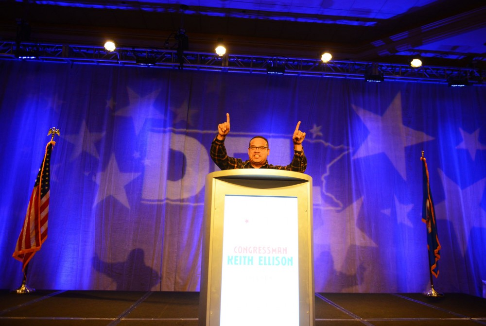 Newly re-elected U.S. Rep. Keith Ellison, D-Minn, rallies the crowd gathered at the DFL election night party at the downtown Minneapolis Hilton on Tuesday night.