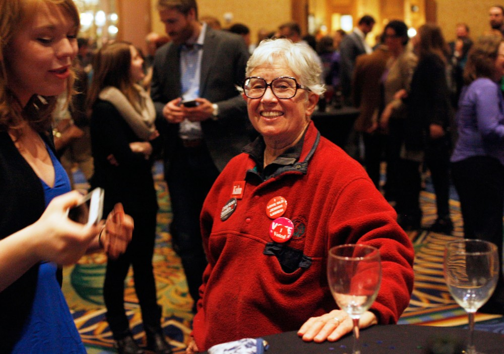 Rep. Phyllis Kahn, DFL-Minneapolis, mingling at the Minneapolis Hilton Wednesday, Nov. 5. Kahn will serve her 22nd term next legislative session as she was re-elected Tuesday.