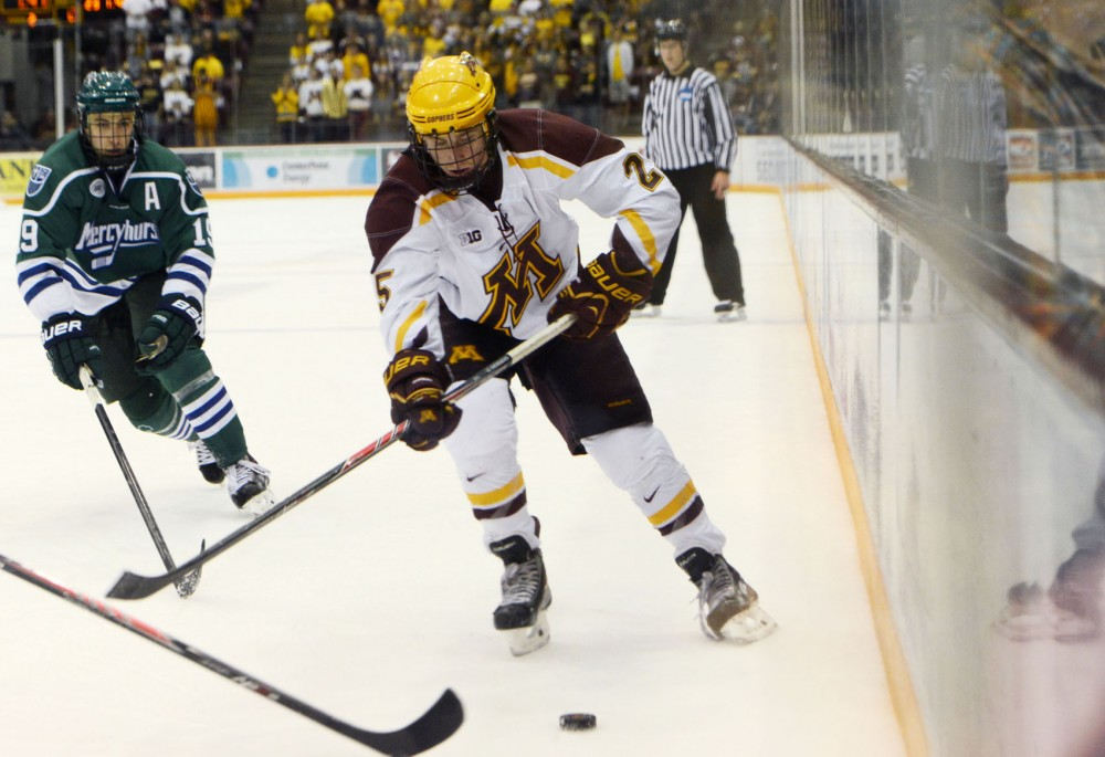 Minnesota forward Justin Kloos skates against Mercyhurst in the first round of the Ice Breaker Tournament at Mariucci Arena on Friday, Oct. 11, 2013.