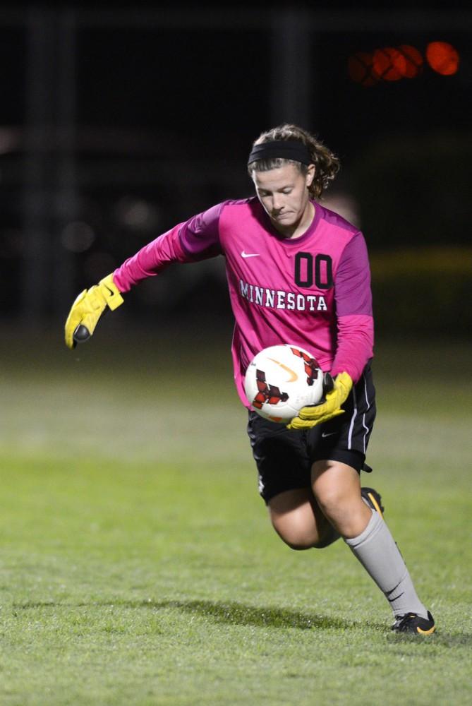 Minnesota goalkeeper Tarah Hobbs sets up for a kick against Louisiana State on Friday, Sept. 6, at Elizabeth Lyle Robbie Stadium.