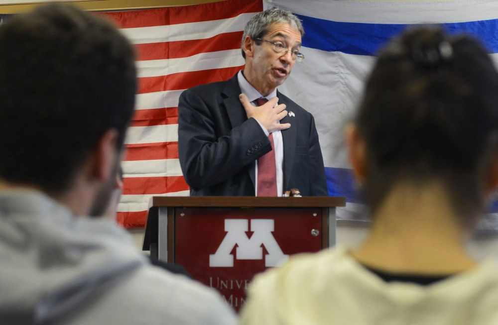 Roey Gilad, Israel's Consul General to the Midwest, speaks to Univeristy students about current affairs in the Middle East in Coffman Union Tuesday afternoon.