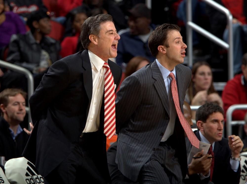Head coach Richard Pitino and his father Rick Pitino
