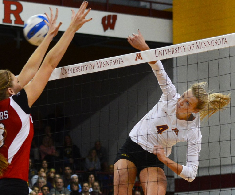 Gophers sophomore Paige Tapp hits the ball on Oct. 15 against Wisconsin at the Sports Pavillion.
