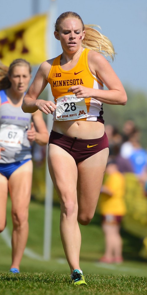 Gophers redshirt junior Kaila Urick runs the final stretch of the Roy Griak Invitational at the Les Bolstad Golf Course on Sept. 27.