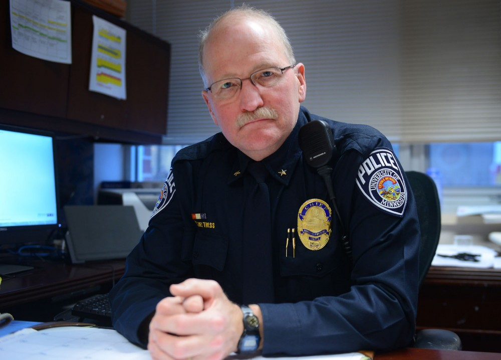 Chief Greg Hestness poses in his office at the University of Minnesota Police Department Monday afternoon. Hestness will be retiring in June after a 40-year career in law enforcement.