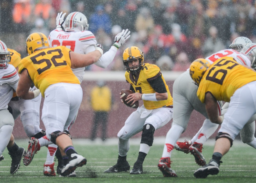 Gophers quarterback Mitch Leidner searches for a pass on Saturday aganist Ohio State at TCF Bank Stadium.