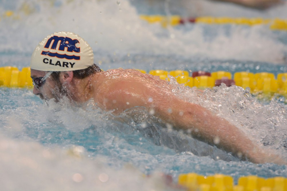 Olympic gold medalist Tyler Clary swims in the 400-yard individual medley on Thursday evening. The University of Minnesota hosted the USA Swimming Grand Prix at the Aquatic Center this past weekend.