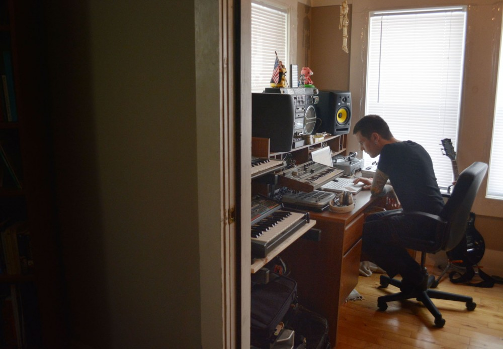 EDM producer Steven Klinger, known by the stage name The Kid Vicious, works on an unfinished track in his home studio in Minneapolis on Friday. He plans to debut new songs at a show with Flava D on Tuesday, Jan. 20th at Barfly.