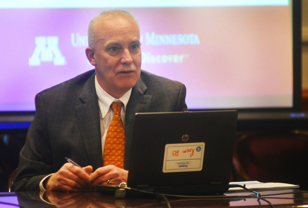 University Vice President and Chief Financial Officer Richard Pfutzenreuter discusses performance measures at a Senate higher education committee meeting at the Capitol on Thursday.
