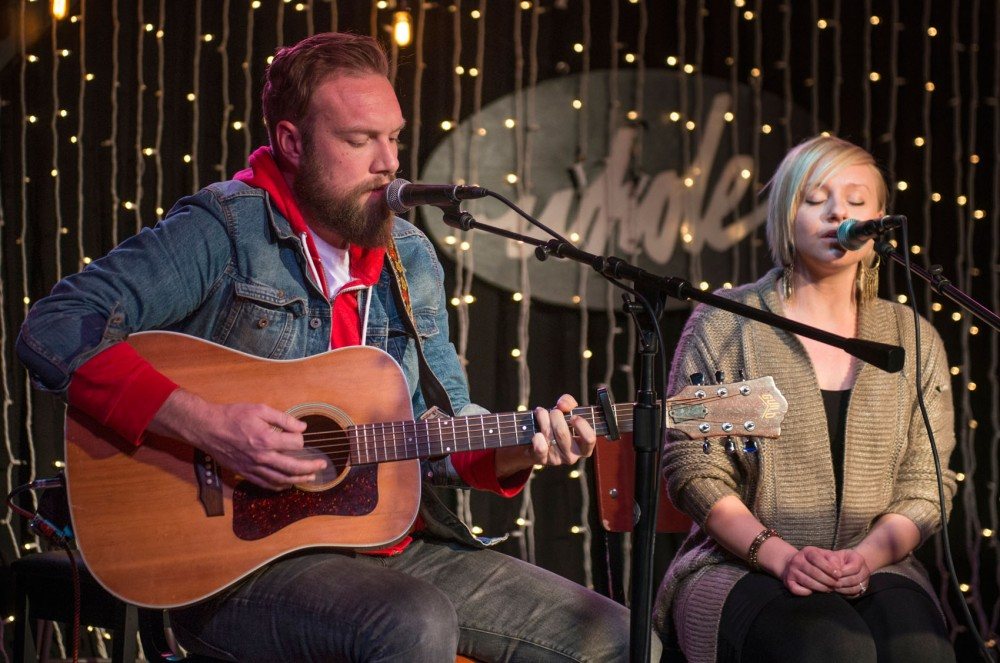 Couple Johnny Soloman and Molly Moore of the St. Paul based music group, Communist Daughter, perform at the Whole Music Club in Coffman on Wednesday evening. The campus event, hosted by Boynton Health services, brought musical artists together for a conversation about their music careers as well as their struggles with mental health.