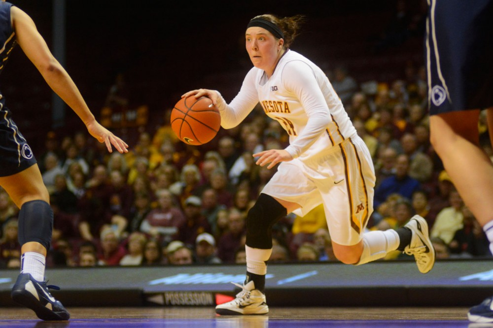 Junior guard Mikayla Bailey dribbles the ball against Penn State at Williams Arena on Wednesday.