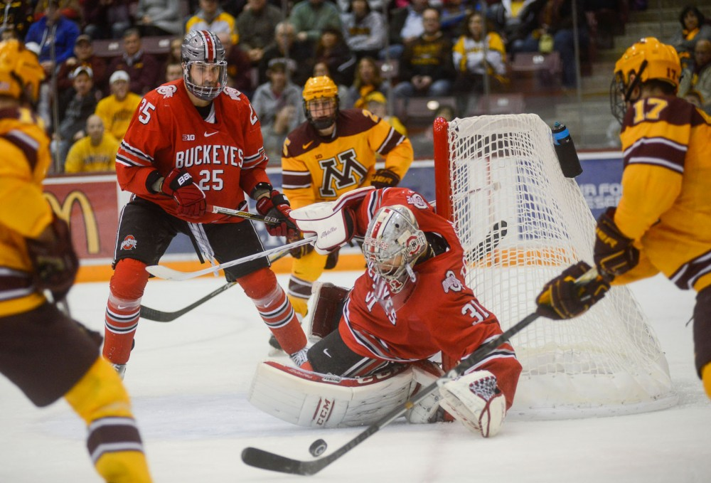 Gophers forward Seth Ambroz shoots on Ohio State at Mariucci Arena on Saturday, Feb. 7th.