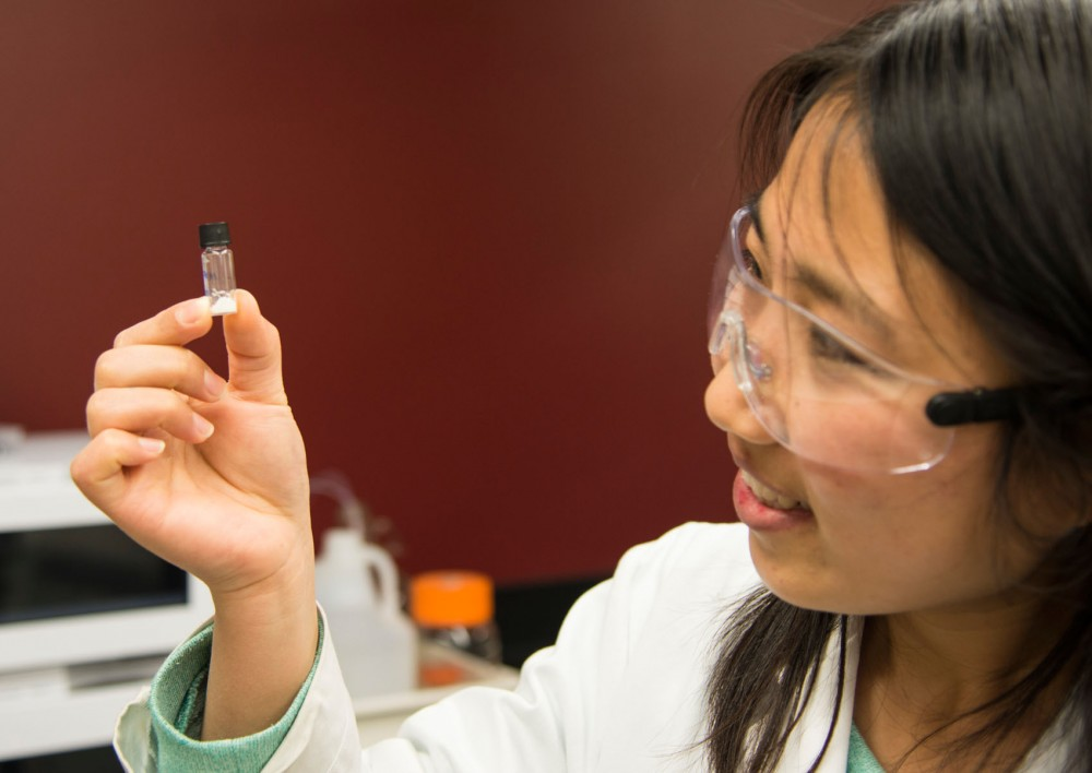 Chemical engineering graduate student Limin Ren displays a form of zeolite in an Amundson Hall laboratory Friday evening. University researchers tested the zeolite's absorption rate to determine its potential for use in biofuel processing.