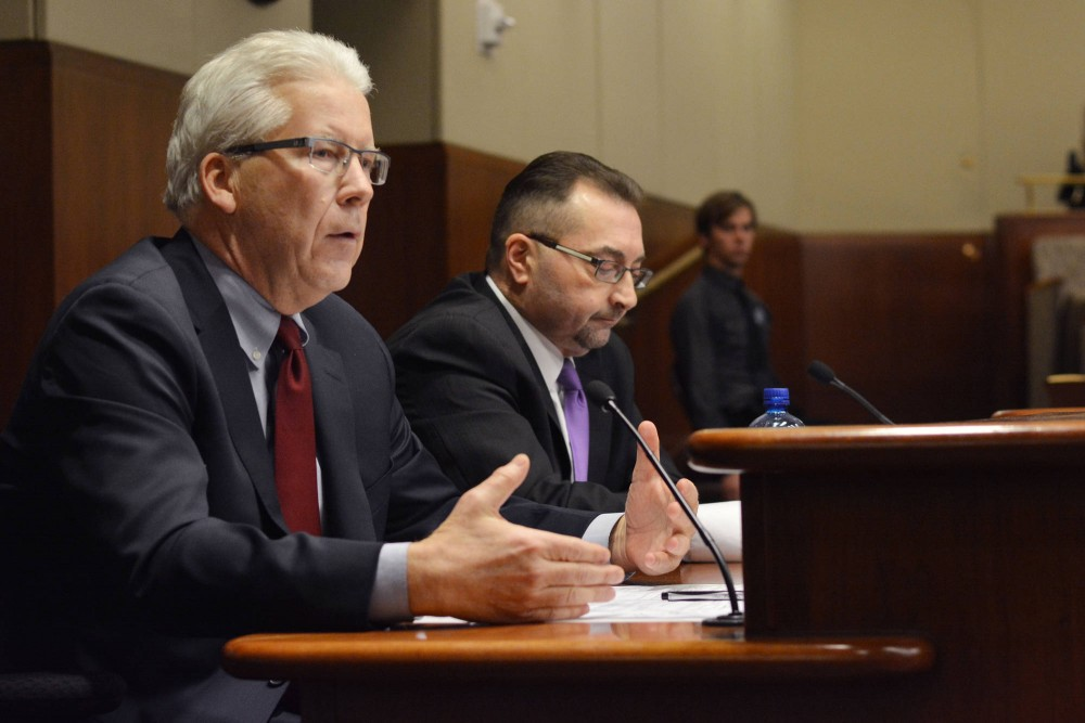 Board of Regent candidates for the fourth congressional district Richard Beeson and Tom Sorel field questions from a joint legislative committee Tuesday at the State Office Building. The committee selected Beeson as its recommended candidate for the fourth district.