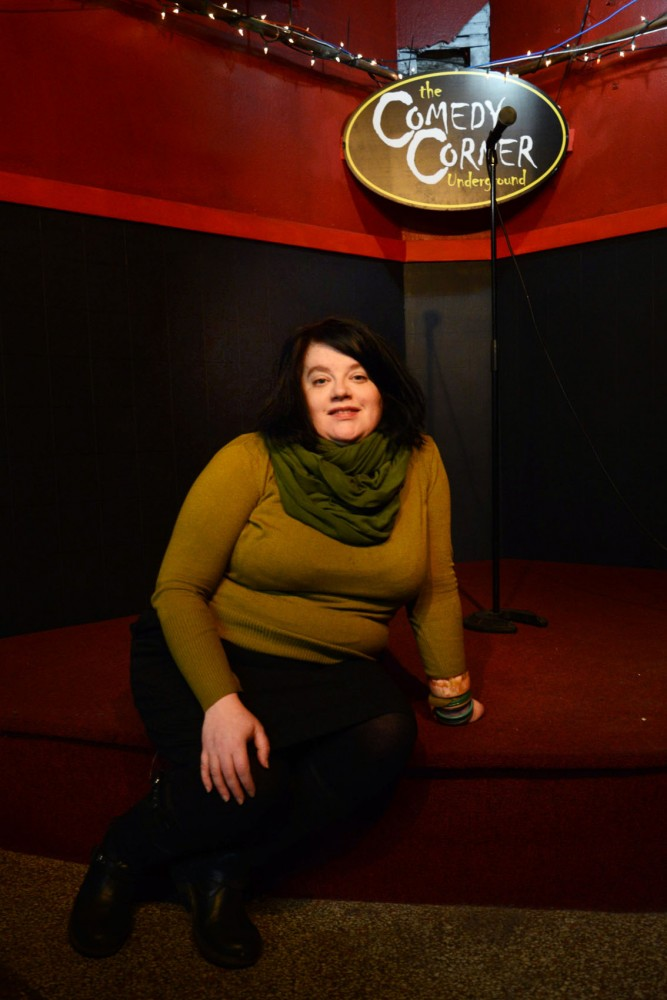 Comedian Rana May poses at the Comedy Corner on Saturday. May is hosting an open mic and occasional variety showcase, called