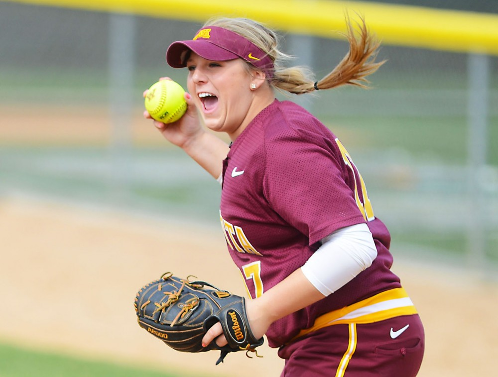 Minnesota pitcher Sara Groenewegen plays against Penn State on April 26, 2014 at Jane Sage Cowles Stadium.