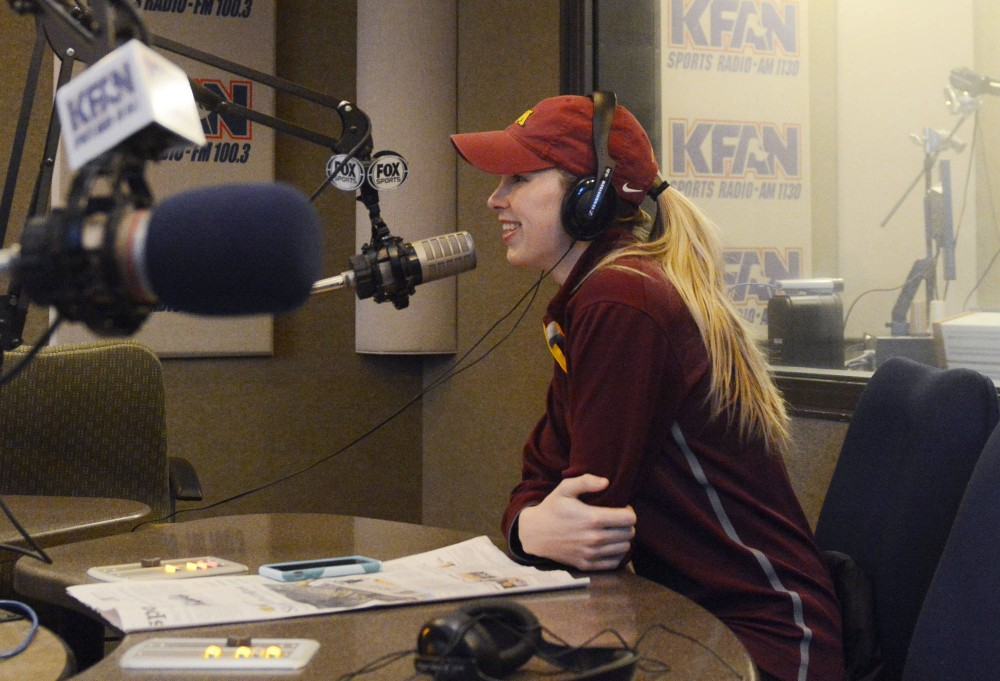 Women's hockey co-captain Rachel Ramsey fills listeners in on hockey-related news on Monday at KFAN Sports Radio. Ramsey, who will finish her hockey career this semester, has hopes of working in sports news in the future.