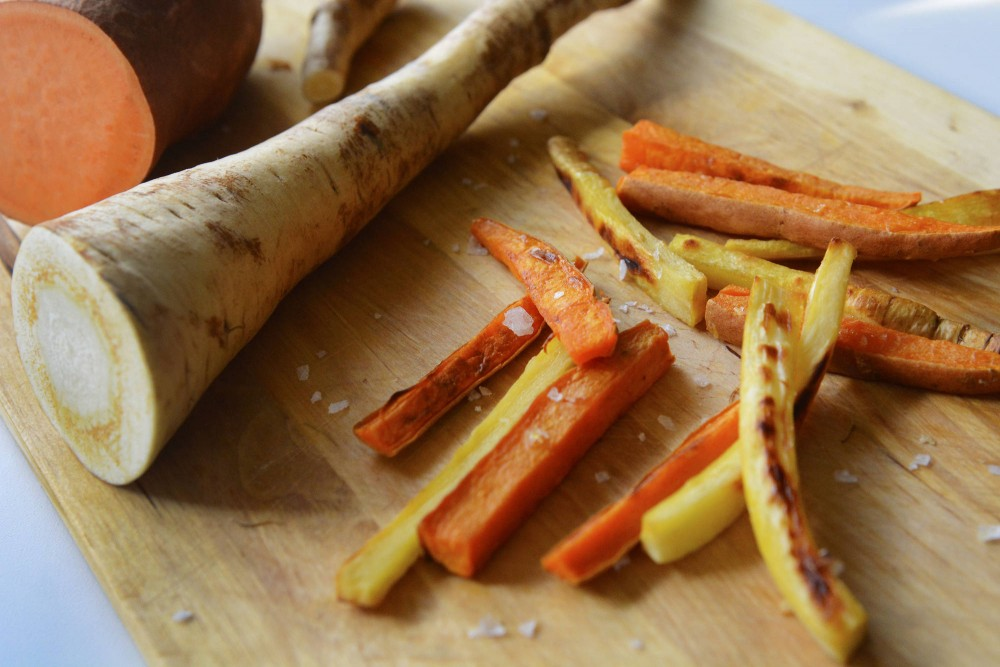 Sweet potato and parsnip fries make a tasty and healthy alternative to french fries. For an added kick, try dipping them in sriracha mayo.