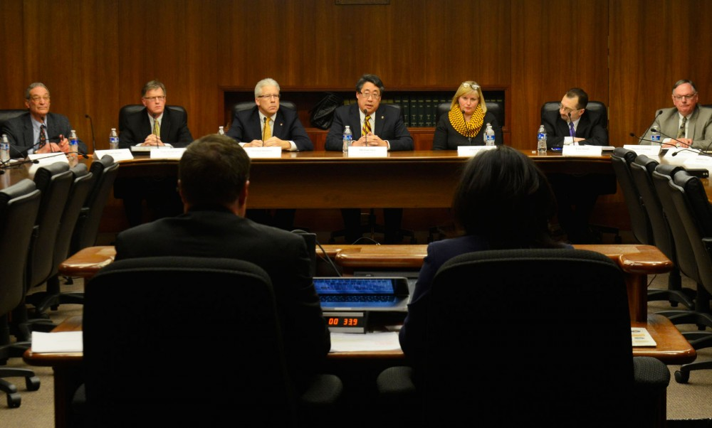 The 10 candidates for the University of Minnesota Board of Regents attend a public forum at the State Office Building on Wednesday, January 28.