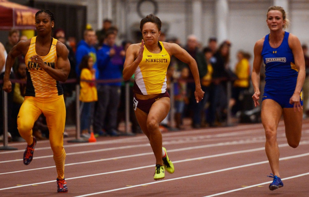 Minnesota's Erin Hawkins competes in the 60-meter dash finals on Saturday, January 31st at the University Fieldhouse. Hawkins went on to win the race with a time of 7.49 seconds.