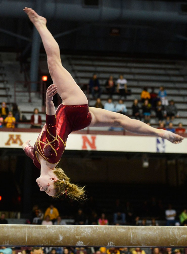 Lindsay Mable performs on the beam at the meet against Ohio State on Saturday at the Sports Pavilion.