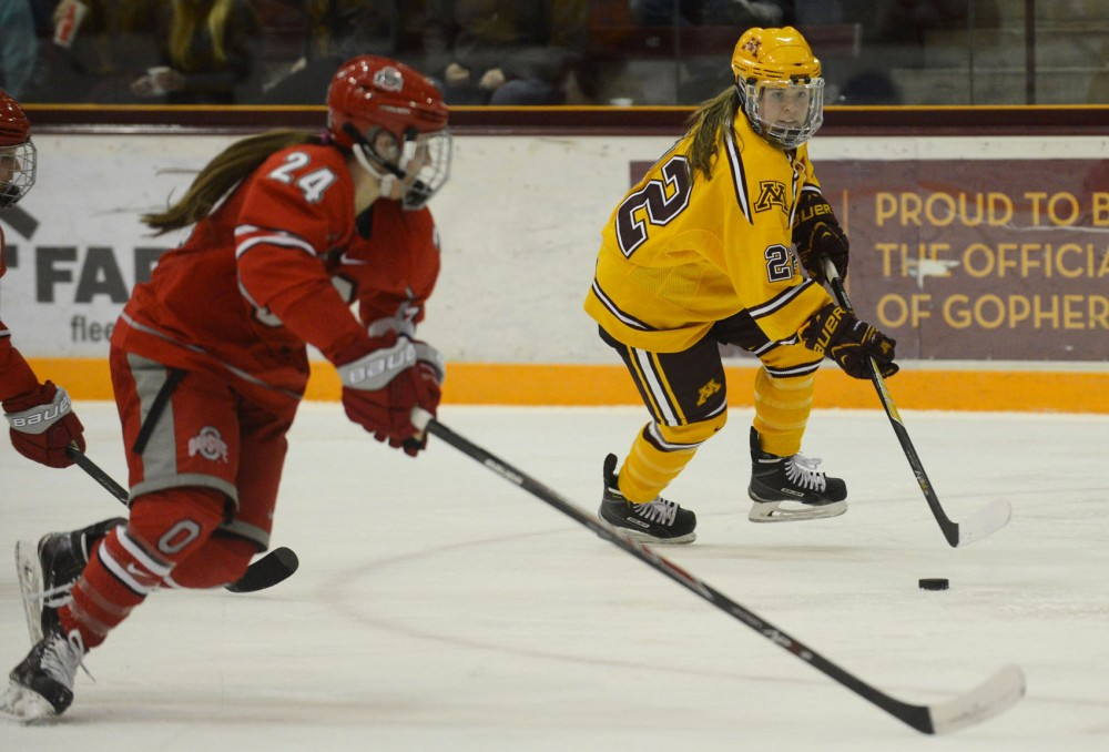 Minnesota forward Hannah Brandt handles the puck against Ohio State at Ridder Arena on Saturday. The Gophers beat Ohio State 3-1 and outshot them 44-15.