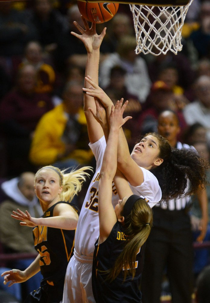Gophers center Amanda Zahui B. shoots the ball on Feb. 17 at Williams Arena.